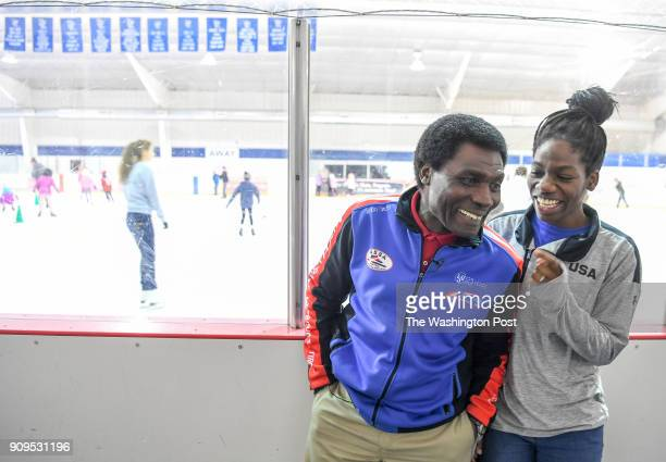 Maame Biney 17year old short track speed skater from Reston laughs with her dad Kweku Biney during an interview She has qualified for the Olympics...