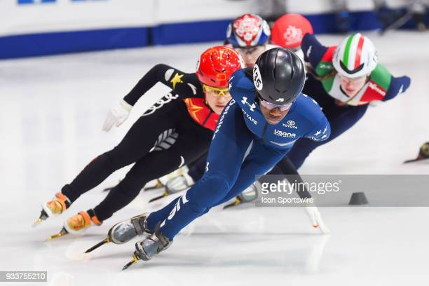 Maame Biney leads the first lap during the 1000m Semifinals at ISU World Short Track Speed Skating Championships on March 18 at MauriceRichard Arena...