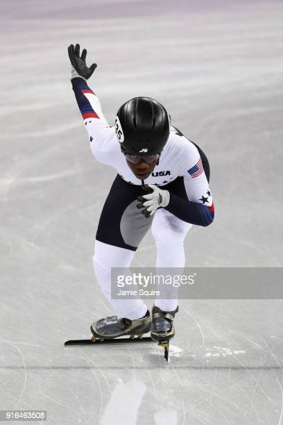 Maame Biney of the United States warms up prior to the Ladies' 500m Short Track Speed Skating qualifying on day one of the PyeongChang 2018 Winter...