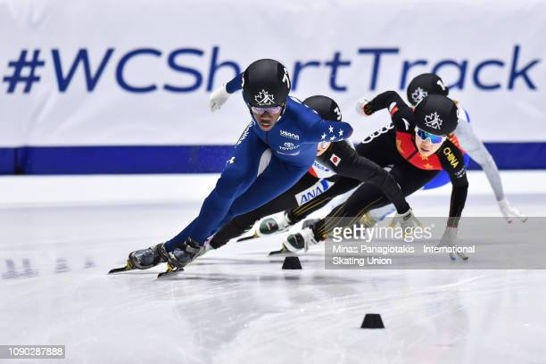 Maame Biney of the USA leads the group in the women's 1000m heat during the ISU World Junior Short Track Championships at Maurice Richard Arena on...