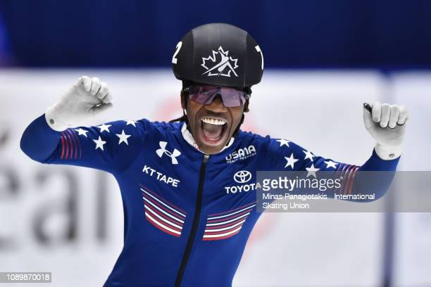 Maame Biney of the USA reacts after setting a new world junior record in the 500 meter quarterfinal heat during the ISU World Junior Short Track...