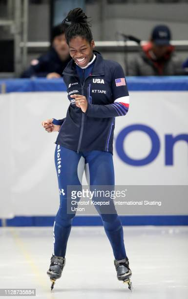 Maame Biney of United States celebrates her third place at the podium after the second ladies 500 meter final A during the ISU Short Track World Cup...