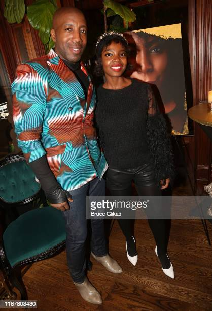 MaameYaa Boafo and guest pose at the celebration for the North of 40 Podcast Launch at Dapper Dan Atelier on November 14 2019 in New York City