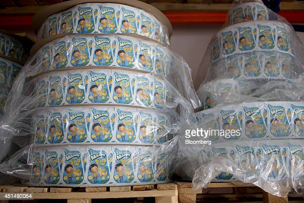 Maamyyflavored milk labels sit in a storage room at the APU JSC dairy plant in Ulaanbaatar Mongolia on Tuesday June 24 2014 APU is Mongolia's largest...
