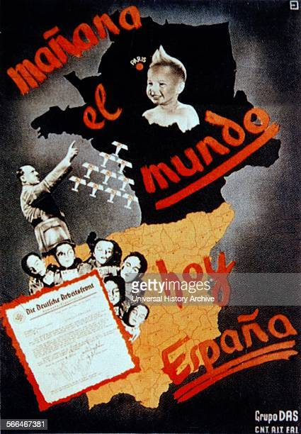 Mañana el mundo hoy Espana CNT Propaganda poster 1936 Issued by Gruppo DAS an antifascist group of German volunteer fighters in Spain during the...