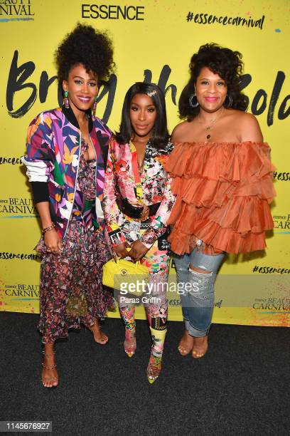 MaAna Luu Jackie Aina and Julee Wilson pose backstage during the 2019 ESSENCE Beauty Carnival Day 2 on April 28 2019 in New York City
