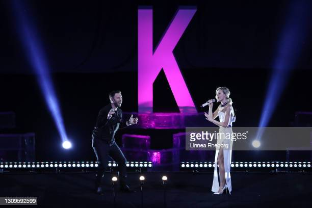 Maans Zelmerloew & Polina Gagarina perform the WC2021 Event Song during the Gala Exhibition during day five of the ISU World Figure Skating...