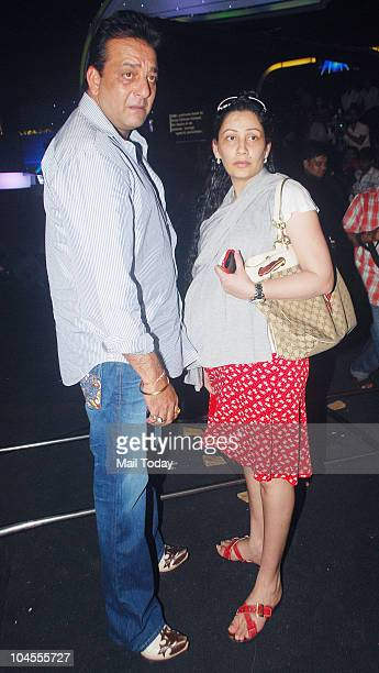 Maanyata and Sanjay Dutt on the sets of the reality show 'Chhote Ustaad' in Mumbai on September 27 2010