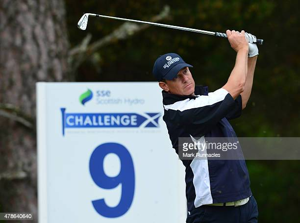 Maarten Lafeber of Netherlands in action on the 13th tee during the second round of the 2015 SSE Scottish Hydro Challenge at the MacDonald Spey...