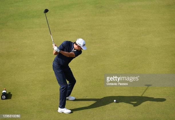 Maarten Lafeber of Netherlands plays his tee shot to the 1st hole during Day Two of the Dutch Open at Bernardus Golf on September 17, 2021 in...