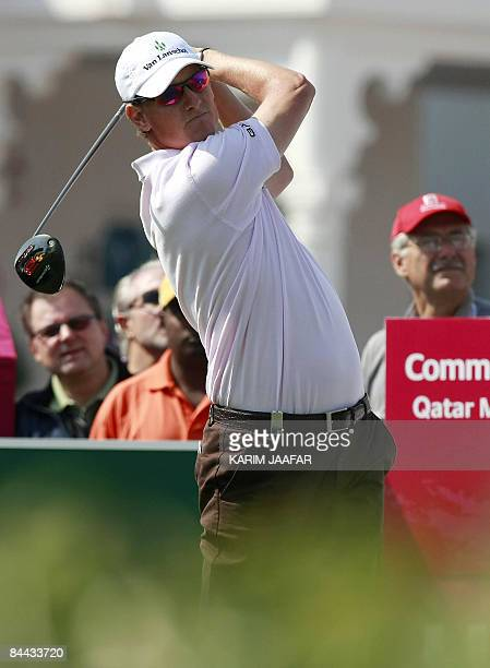 Maarten Lafeber of the Netherlands plays a shot during the third round of the Qatar Masters tournament at the Doha Golf Club on January 24, 2009....