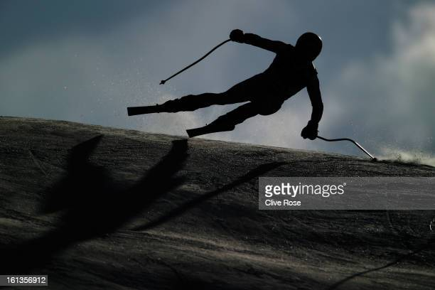 Maarten Meiners of the Netherlands skis in the Men's Super Combined Downhill Training during the Alpine FIS Ski World Championships on February 10...