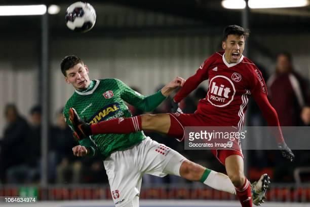 Maarten Peijnenburg of FC Dordrecht, Anass Ahannach of Almere City during the Dutch Keuken Kampioen Divisie match between Almere City v FC Dordrecht...