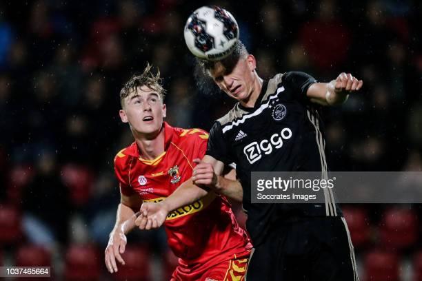 Maarten Pouwels of Go Ahead Eagles Sven Botman of Ajax U23 during the Dutch Keuken Kampioen Divisie match between Go Ahead Eagles v Ajax U23 at the...