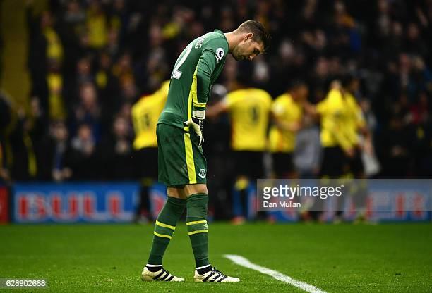 Maarten Stekelenburg of Everton looks dejected as Stefano Okaka of Watford scores their third goal during the Premier League match between Watford...
