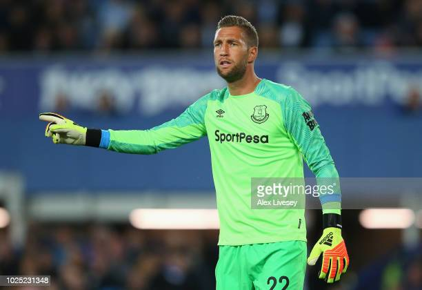 Maarten Stekelenburg of Everton looks on during the Carabao Cup Second Round match between Everton and Rotherham United at Goodison Park on August...