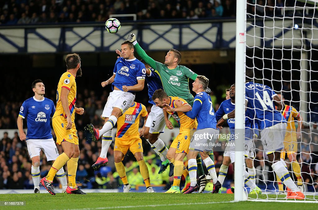 Maarten Stekelenburg of Everton punches the ball clear during the Premier League match between Everton and Crystal Palace at Goodison Park on September 30, 2016 in Liverpool, England.