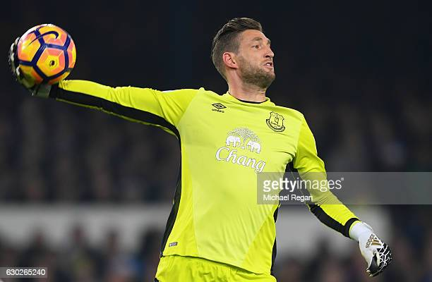 Maarten Stekelenburg of Everton throws the ball during the Premier League match between Everton and Liverpool at Goodison Park on December 19 2016 in...