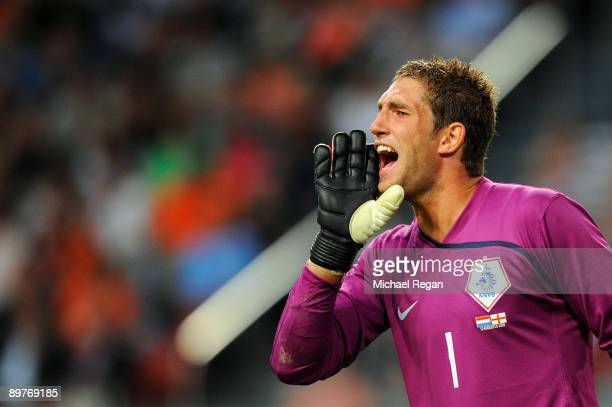 Maarten Stekelenburg of Netherlands in action during the International Friendly between Netherlands and England at the Amsterdam Arena on August 12...