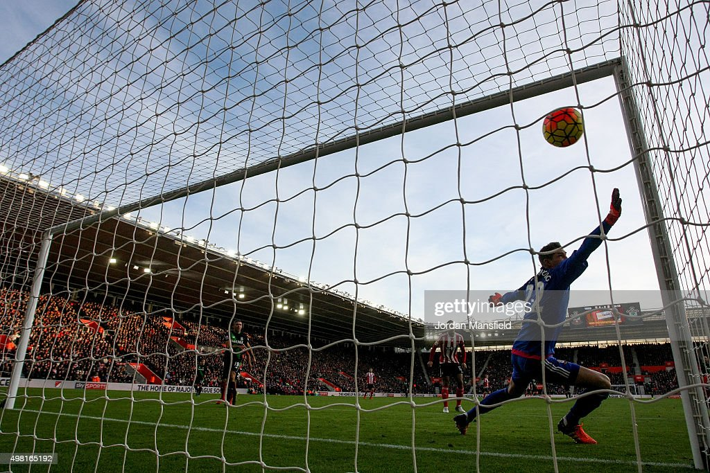 Maarten Stekelenburg of Southampton fails to stop the goal from Bojan Krkic of Stoke to make it 1-0 during the Barclays Premier League match between Southampton and Stoke City at St Mary's Stadium on November 21, 2015 in Southampton, England.