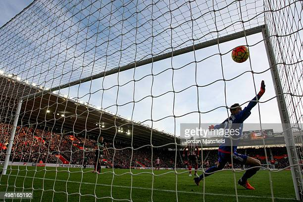 Maarten Stekelenburg of Southampton fails to stop the goal from Bojan Krkic of Stoke to make it 10 during the Barclays Premier League match between...