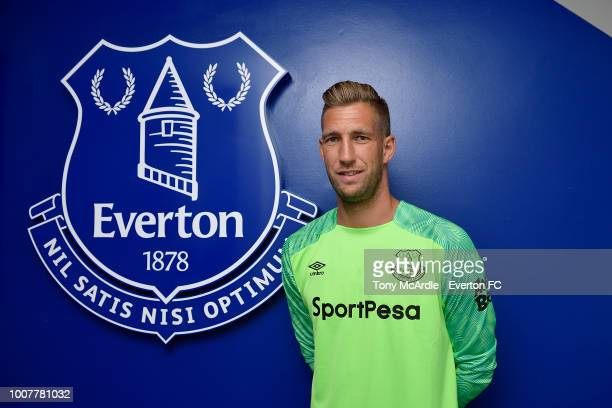 Maarten Stekelenburg poses for a photo after signing a new contract at USM Finch Farm on July 25, 2018 in Halewood, England.