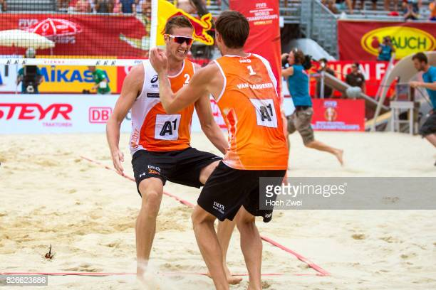 Maarten Van Garderen and Christiaan Varenhorst of Netherlands celebrate during Day 9 of the FIVB Beach Volleyball World Championships 2017 on August...