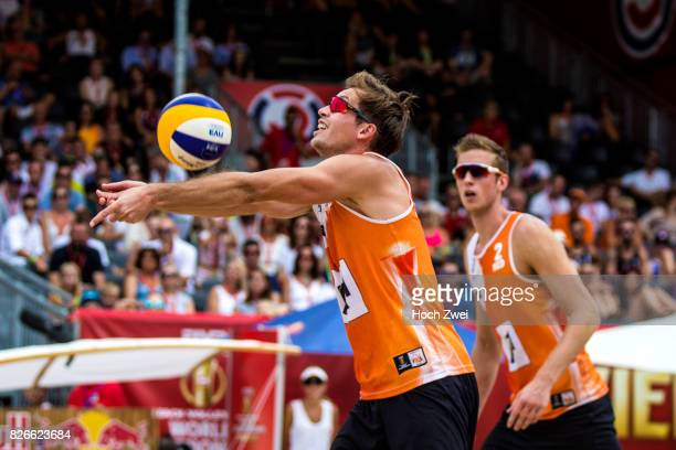 Maarten Van Garderen and Christiaan Varenhorst of Netherlands in action during Day 9 of the FIVB Beach Volleyball World Championships 2017 on August...