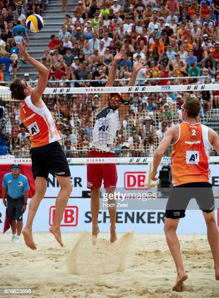 Maarten Van Garderen of Netherlands competes against Adrian Gavira Collado of Spain during Day 9 of the FIVB Beach Volleyball World Championships...
