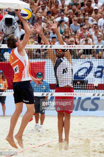 Maarten Van Garderen of Netherlands competes during Day 9 of the FIVB Beach Volleyball World Championships 2017 on August 5 2017 in Vienna Austria