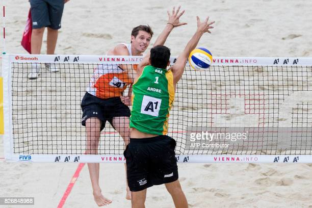 Maarten van Garderen of the Netherlands hits the ball during the match Netherlands Vs Brazil at the Beach Volleyball World Championship in Vienna on...