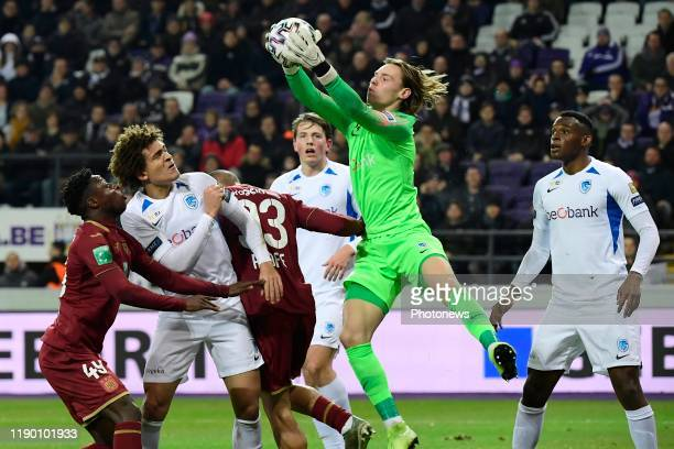 Maarten Vandevoordt goalkeeper of Genk Neto Borges Dos Santos defender of Genk Jhon Lucumi defender of Genk and Jeremy Doku forward of Anderlecht...