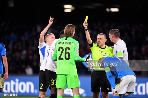 Maarten Vandevoordt goalkeeper of Genk yellow card during the UEFA Champions League Group stage Group E match between SSC Napoli and KRC Genk on...