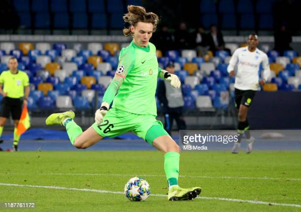 Maarten Vandevoordt of KRC during the UEFA Champions League group E match between SSC Napoli and KRC Genk at Stadio San Paolo on December 10 2019 in...