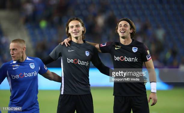 Maarten Vandevoordt of Krc Genk and Gaetan Coucke of Krc Genk celebrate after winning the Jupiler Pro League match between KRC Genk and RSC...
