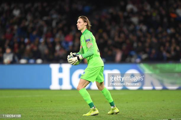 Maarten Vandevoordt of KRC Genk during the UEFA Champions League group E match between SSC Napoli and KRC Genk at Stadio San Paolo on December 10...