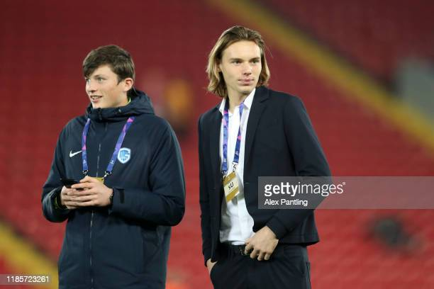Maarten Vandevoordt of KRC Genk inspects the pitch prior to the UEFA Champions League group E match between Liverpool FC and KRC Genk at Anfield on...
