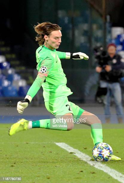 Maarten Vandevoordt of KRC in action during the UEFA Champions League group E match between SSC Napoli and KRC Genk at Stadio San Paolo on December...