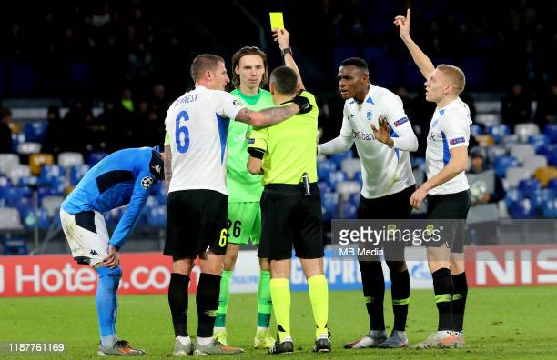 Maarten Vandevoordt of KRC yellow card during the UEFA Champions League group E match between SSC Napoli and KRC Genk at Stadio San Paolo on December...