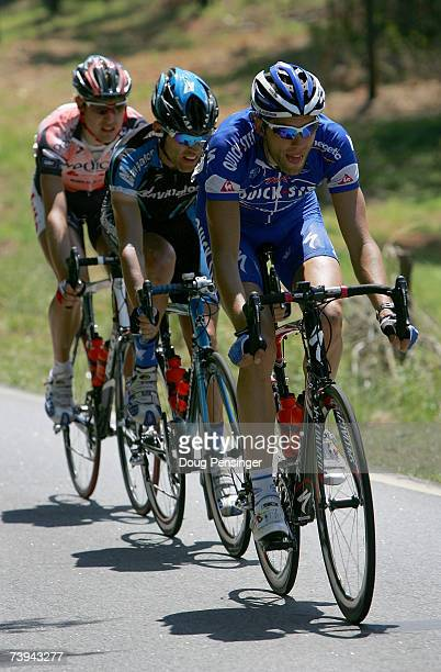 Maarten Wynants of Belgium and riding for Quick Step leads the breakaway with Glen Alan Chadwick of New Zealand and riding for Navigators Insurance...
