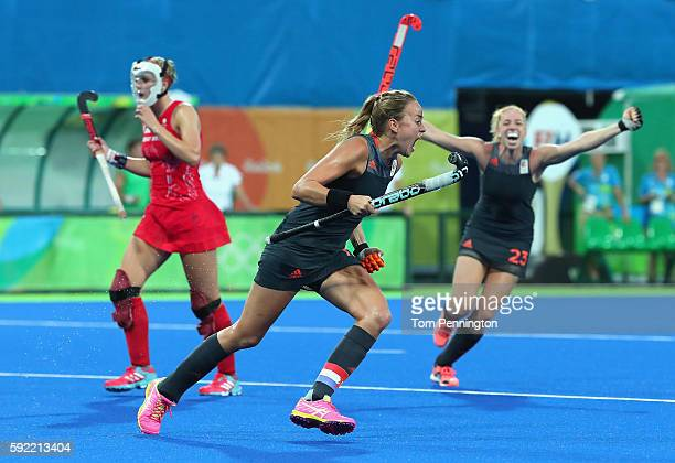 Maartje Paumen of Netherlands celebrates scoring her sides second goal during the Women's Gold Medal Match against the Netherlands on Day 14 of the...