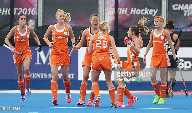 Maartje Paumen of Netherlands celebrates scoring their first goal during the FIH Women's Hockey Champions Trophy match between Netherlands and New...