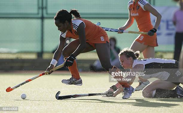 Maartje Scheepstra of Netherlands and Anke Muller of Germany in action during the 7th Women's European Nations Championship Final between Germany and...