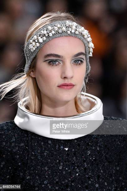 Maartje Verhoef beauty detail walks the runway during the Chanel show as part of the Paris Fashion Week Womenswear Fall/Winter 2017/2018 on March 7...