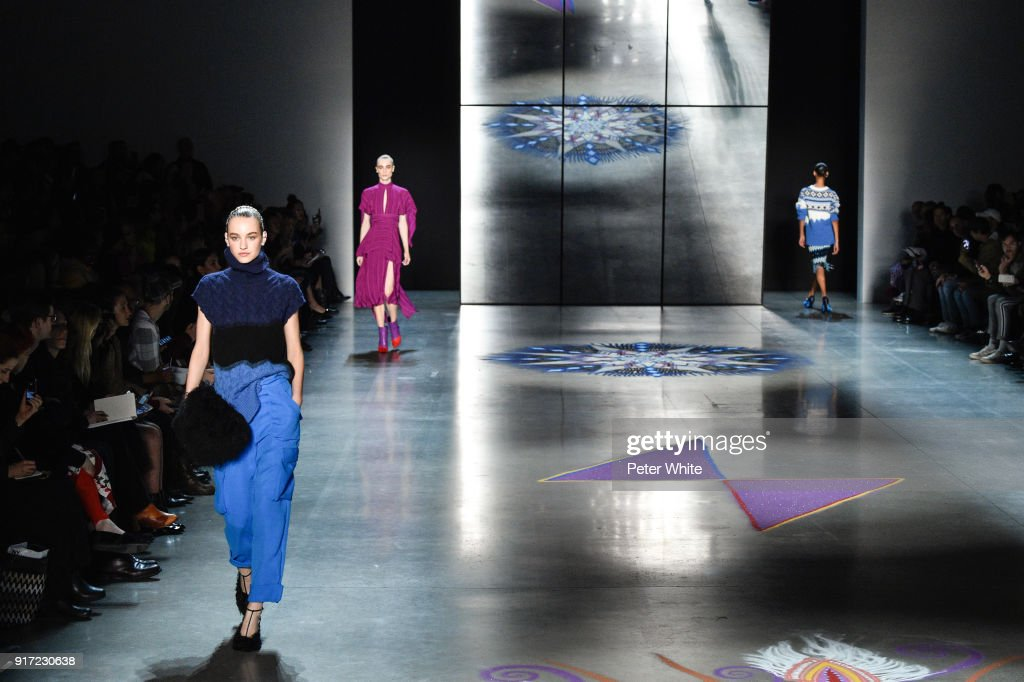 Maartje Verhoef walks the runway during the Prabal Gurung fashion show during New York Fashion Week at Gallery I at Spring Studios on February 11, 2018 in New York City.