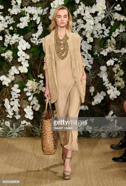 Maartje Verhoef walks the runway for Ralph Lauren collection during New York Fashion Week on February 15, 2017 in New York City.