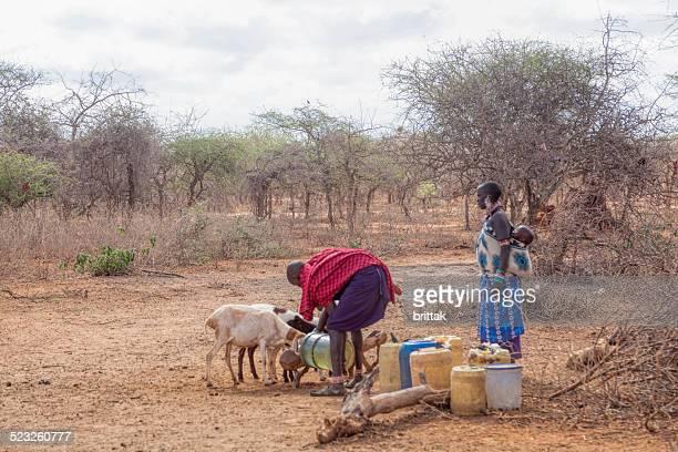 Maasai-Paar mit Ziegen, die wir erfassen Wasser.
