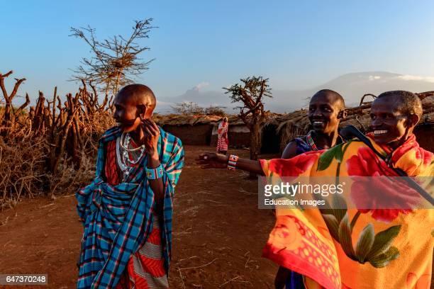 Maasai Masai men in a manyatta plural manyattas village or kraal a group of houses or Inkajijik or enkaji with Mt Kilimanjaro and Mt Mawenzi in...