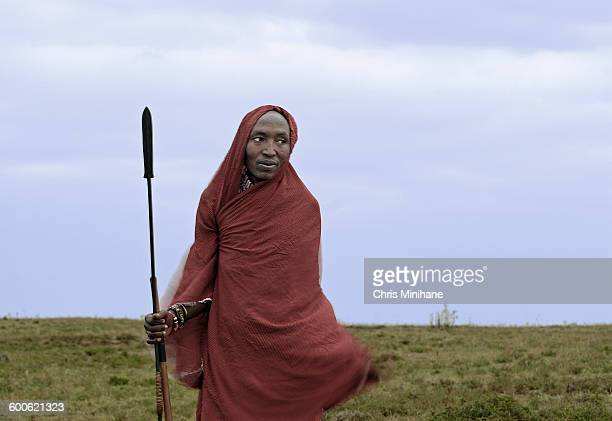 Maasai Moran Posing with Blanket and Spear