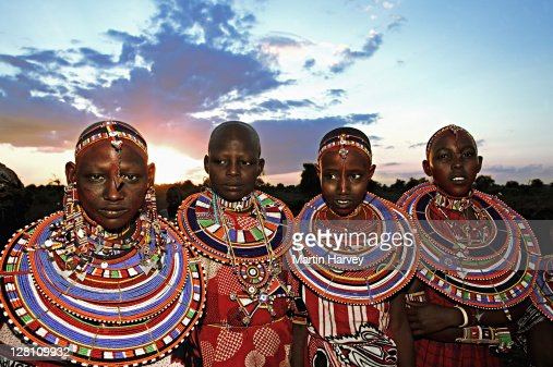 maasai people unmarried girls with their beaded necklaces